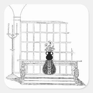 Refectory Table Vintage Decor Square Sticker
