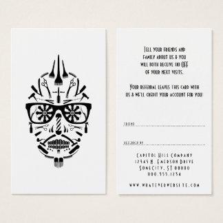 refer a friend barber sugar skull business card