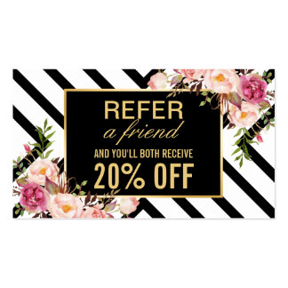 Refer a Friend | Beautiful Pink Floral Stripes Business Card