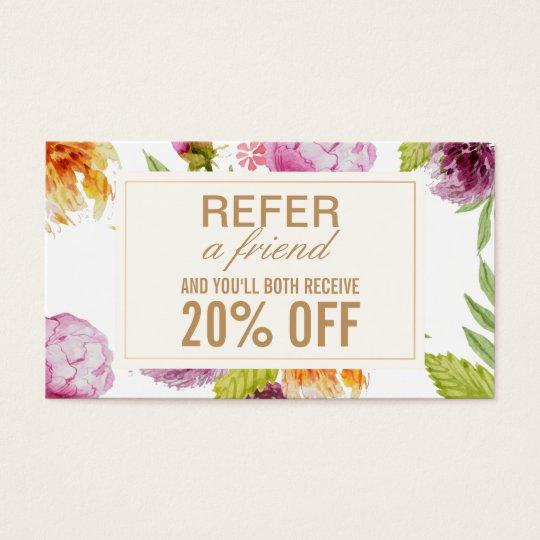 Refer A Friend Beauty Salon Floral Referral Card Zazzle Ca