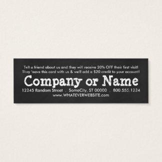 refer a friend chalk mini business card
