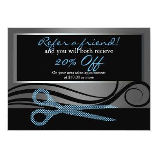 Refer a friend | elegant hair swirls and polka dot card