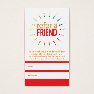 refer a friend rainbowBurst Business Card