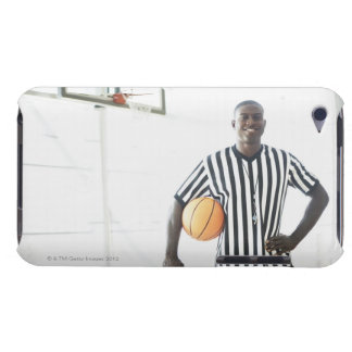 Referee holding basketball on court barely there iPod covers