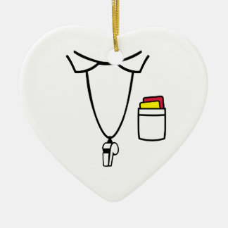 Referee red yellow card whistle ceramic ornament