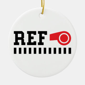 Referee - ref - design with red whistle round ceramic ornament