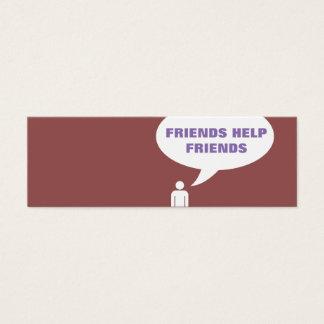 référence comique de bulle d'amis d'aide d'amis mini carte de visite