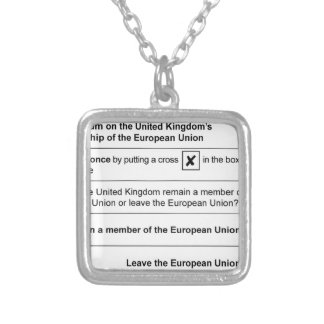 Referendum Remain in EU Silver Plated Necklace