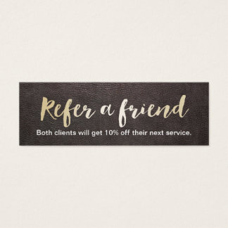 Referral Card | Gold Script Elegant Leather