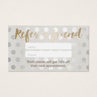 Referral Card | Modern Silver Dots Hair Salon