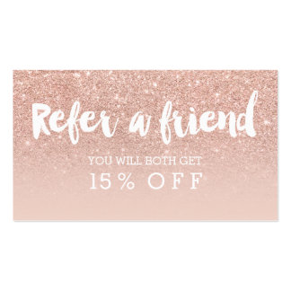 Referral card modern typography blush rose gold business card
