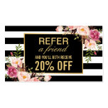 Referral Card Vintage Gold Floral Beauty Salon Business Card