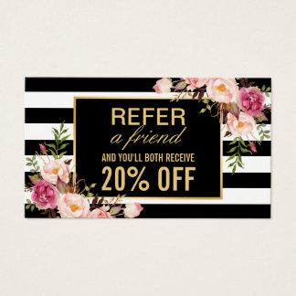 Referral Card Vintage Gold Floral Beauty Salon Business Card