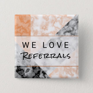 Referral Customer Loyalty Pink Marble Collage 2 Inch Square Button