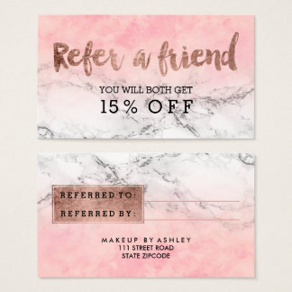 Referral rose gold typography watercolor marble business card