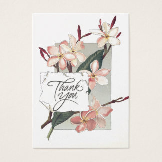 Referral Thank You Vintage Pink Plumeria Business Card