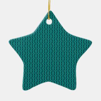 Refined Glam Star Christmas Ornament, Teal Ceramic Star Ornament