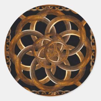 Refined Wood Decorative Background Classic Round Sticker