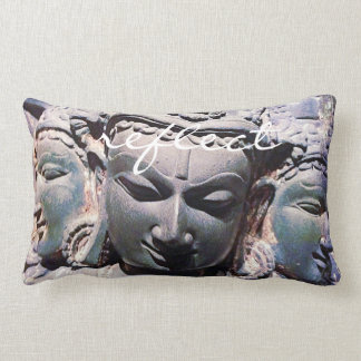 """""""Reflect"""" Quote Asian Stone Faces Statue Photo Lumbar Pillow"""