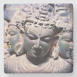 """Reflect"" Quote Asian Stone Faces Statue Photo Stone Coaster"