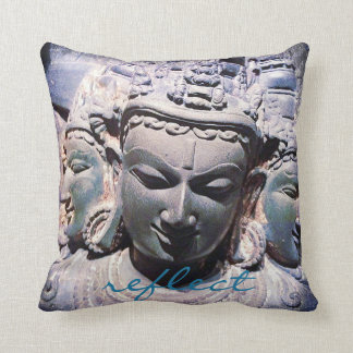"""""""Reflect"""" Quote Asian Stone Faces Statue Photo Throw Pillow"""