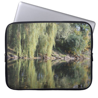 Reflected Willow Trees In River Laptop Computer Sleeve