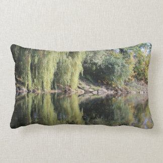 Reflected Willow Trees In River Lumbar Pillow