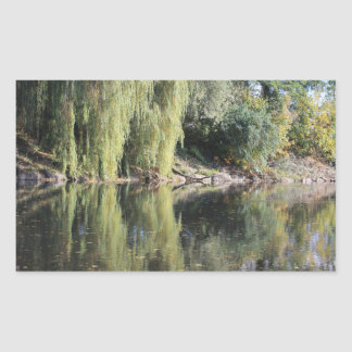 Reflected Willow Trees In River Sticker