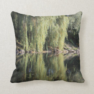 Reflected Willow Trees In River Throw Pillow
