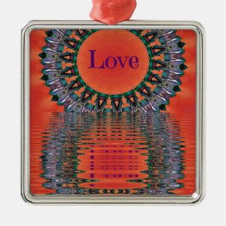 Reflecting Love Red Purple Mandala Pattern Metal Ornament