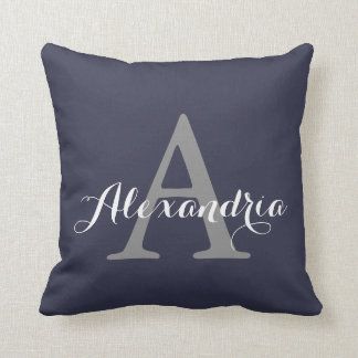 Reflecting Pond Deep Blue Solid Color Monogram Throw Pillow