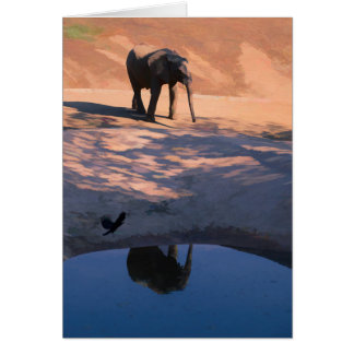 Reflection Elephant in Water Blank Greeting Card