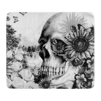 Reflection. Floral landscape skull. Boards