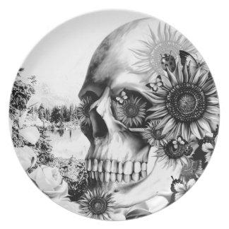 Reflection. Floral landscape skull. Dinner Plates