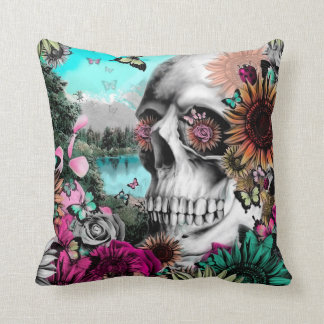 Reflection. Floral landscape skull. Throw Pillow
