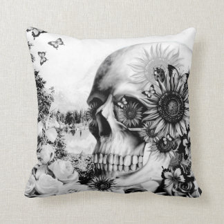 Reflection, floral nature skull throw pillow