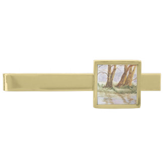 reflection gold finish tie clip