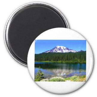Reflection Lake, Mount Rainier, WA, USA 2 Inch Round Magnet