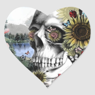 Reflection, landscape skull. heart sticker