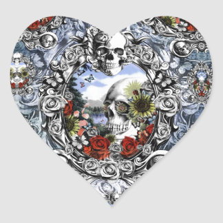 Reflection landscape skull in ornate frame heart sticker