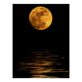 Reflection of a Full Moon Print