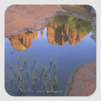 Reflection of Cathedral Rock , Sedona , Arizona Square Sticker