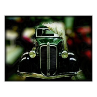 Reflection Of Collectible Classic Cars Poster