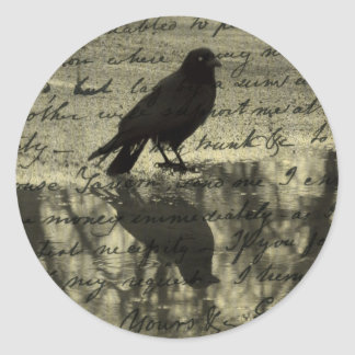 Reflection Of Crow Classic Round Sticker