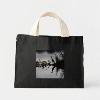 Reflection of Heron on River Bank, Black/Natural Mini Tote Bag