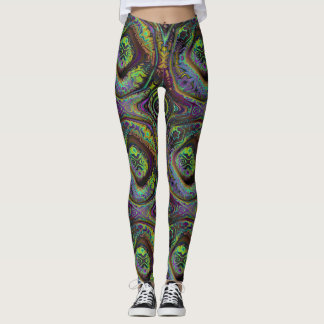 REFLECTION OF MEDIEVAL TIMES GREEN PURPLE LEGGINGS