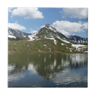 Reflection of sky and clouds in mountain lake ceramic tile
