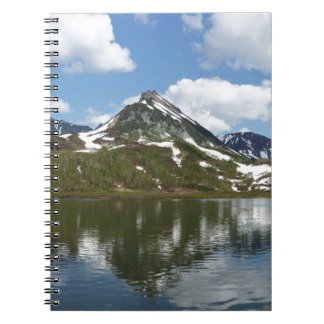 Reflection of sky and clouds in mountain lake notebook