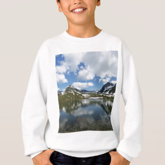 Reflection of sky and clouds in mountain lake sweatshirt