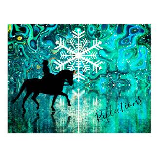 Reflections Dressage Horse, Rider Winter Snowflake Postcard